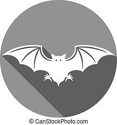 plat, vleermuis, pictogram