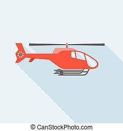 plat, vliegen, ontwerp, helikopter