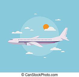 plat, vliegtuig, moderne, hemel, illustratie