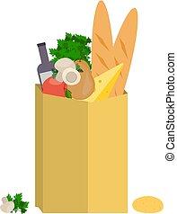 plat, voedingsmiddelen, object., zak, papier, ontwerp