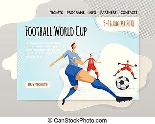 plat, voetbal, poster., illutration, abstract, voetbal, style., spelers, bouwterrein, vector, ontwerp, mal, sportende, spandoek, of