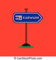 plat, voiture, signe, laver, fond, icône