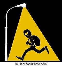 plat, voleur, sac, lumières, argent, réverbère, illustration