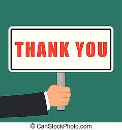plat, vous, concept, remercier, signe
