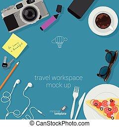 plat, voyage, conception, cadre