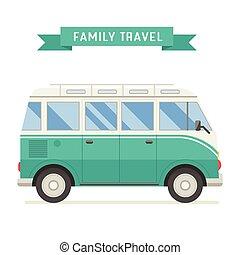 plat, voyage, conception, famille, autobus