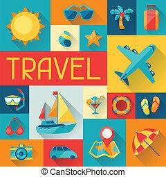 plat, voyage, conception, fond, tourisme, style.