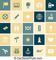 plat, voyage, conception, loisir, icônes