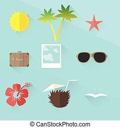 plat, voyage, conception, set., icône