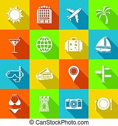 plat, voyage, conception, style., icônes