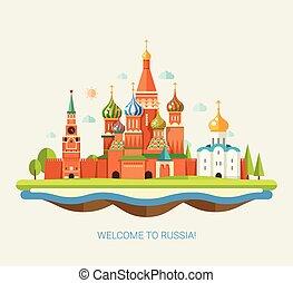 plat, voyage, illustration, conception, russe, composition, paysage