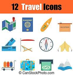 plat, voyage, mettez stylique, icône