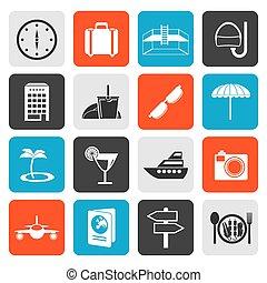 plat, voyage, tourisme, voyage, icônes