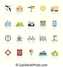 plat, voyage, voyage, icônes