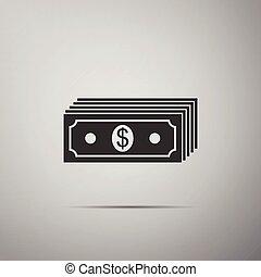 plat, vrijstaand, geld, dollars, rekening, dollar, grijze , illustratie, contant, bankpapier, achtergrond., amerikaan, vector, papier, currency., icon., pictogram, stapel, design.