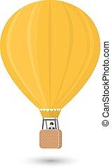 plat, vrijstaand, gele, illustratie, man, aerostat