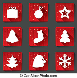 plat, vrolijk, iconen, papier, shadows., kerstmis