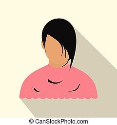 plat, vrouw, barbershop, avatar, pictogram