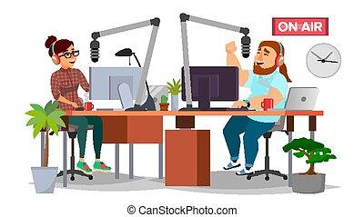 plat, vrouw, dj, moderne, vrijstaand, lucht., microphone., station, radio, illustratie, vector., man, studio., spotprent, broadcasting., spreken