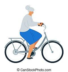 plat, vrouw, fiets, illustratie, vector, bejaarden, ...