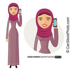 plat, vrouw het spreken, vrijstaand, arabier, telefoon, vector, witte , vrolijke