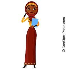 plat, vrouw, iran, zakelijk, klesten, moslim, jonge, illustratie, vrijstaand, arabier, telefoon, vector, spotprent
