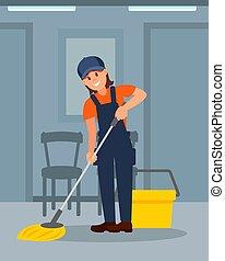 plat, vrouw, kleurrijke, werkende , vloer, jonge, illustratie, vrolijk, vector, poetsen, meisje, corridor., uniform.
