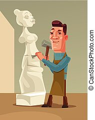 plat, vrouw, makend, karakter, illustratie, stone., vector,...