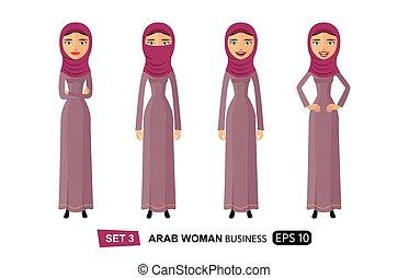 plat, vrouw, natuurlijke , zakelijk, krullend, vrijstaand, illustratie, haar, vector, arabier, witte , spotprent
