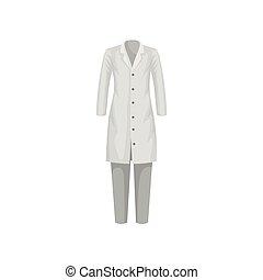 plat, vrouw, pants., arts, jas, medisch, laboratorium, vector, ontwerp, vrouwlijk, worker., laboratorium, of, uniform., kleren