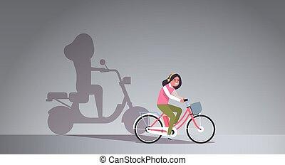 plat, vrouw, schaduw, motor, volle, scooter, meisje,...