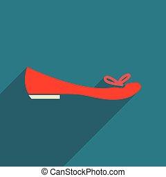 plat, vrouw, schoentjes, lang, schaduw, pictogram