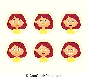 plat, vrouw, set, expression., illustratie, avatar., vector, ontwerp, emotions., gezichts, meisje