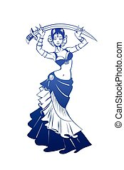 plat, vrouw, silhouette, pose., dancing, expressief