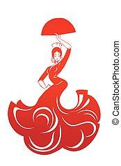 plat, vrouw, silhouette, pose, flamenco, expressief