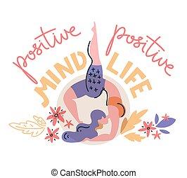 plat, vrouw, stalletjes, haar, ellebogen, positief, verstand, -, vector, life., illustration.
