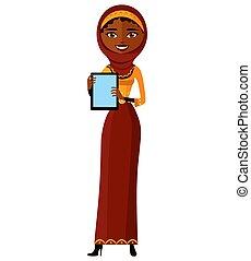 plat, vrouw, tablet, zakelijk, egypte, het tonen, moslim, vrijstaand, illustratie, arabier, pc, vector, iets, spotprent