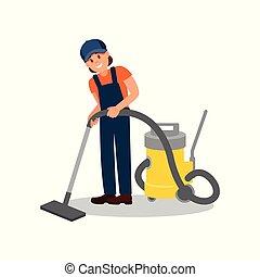 plat, vrouw, werkende , vloer, poster, jonge, element, vrolijk, vector, cleaner., poetsen, vacuüm, professioneel, meisje, uniform., reclame