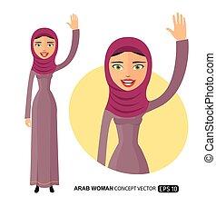 plat, vrouw zaak, haar, karakter, vrijstaand, jonge, zwaaiende , vector, arabier, witte , hand, spotprent, vrolijke