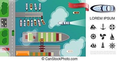 plat, vue, sommet, port maritime, concept