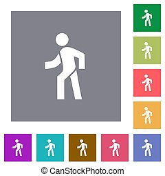 plat, wandelende, plein, iconen, man, links