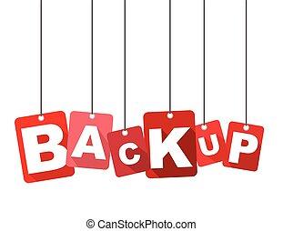 plat, web, backup., goed, informatietechnologie, vector, ontwerp, best, achtergrond, adapted, rood, design.