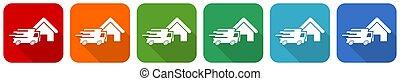 plat, webdesign, ensemble, applications, maison, illustration, 6, conception, mobile, expédition, options, couleurs, courrier, livraison, vecteur, icône