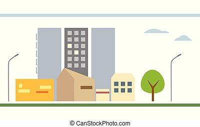 plat, wei, landgoed, -, huisvesting, boompje, wolken, vrijstaand, lampen, achtergrond, ontwerp, witte