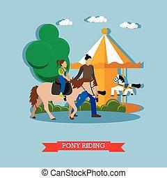 plat, weinig; niet zo(veel), pony, ontwerp, paardrijden, meisje