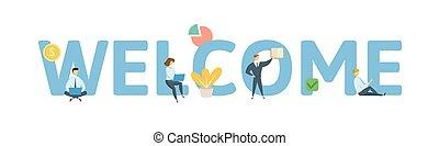 plat, welcome., concept, illustration., lettres, icons., isolé, arrière-plan., vecteur, keywords, blanc