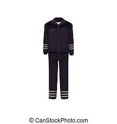 plat, werkende , pants., strepen, clothes., uniform, jas, vector, black , guard., ontwerp, veiligheid