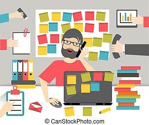 plat, werkende , zakelijk, hard, vector, worksplace, man., ...