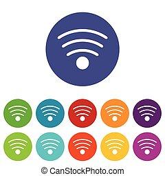 plat, wi-fi, icône