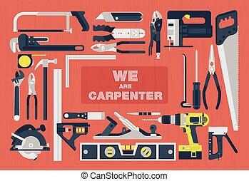 plat, wij, timmerman, gereedschap, element